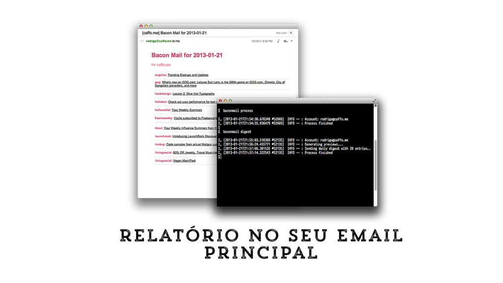 relatório no seu email principal