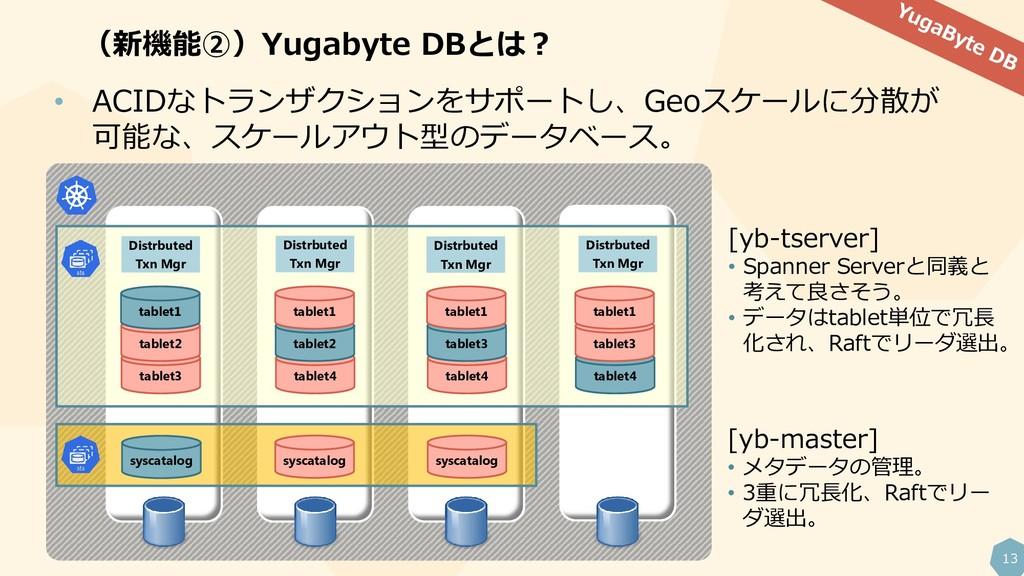 13 (新機能②)Yugabyte DBとは? • ACIDなトランザクションをサポートし、G...