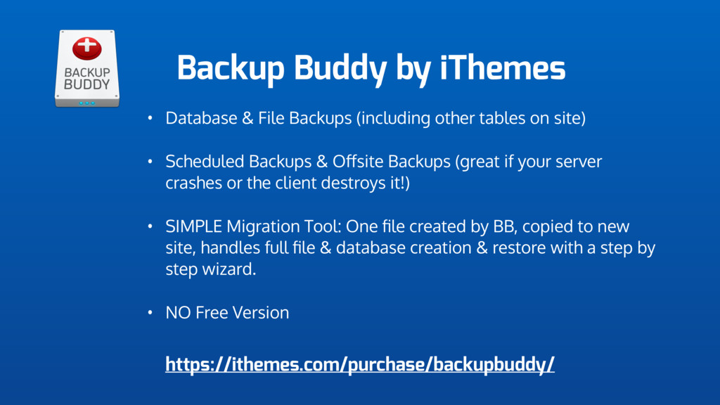 Backup Buddy by iThemes • Database & File Backu...