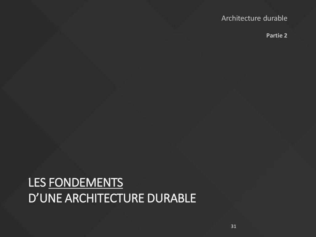 LES FONDEMENTS D'UNE ARCHITECTURE DURABLE Parti...