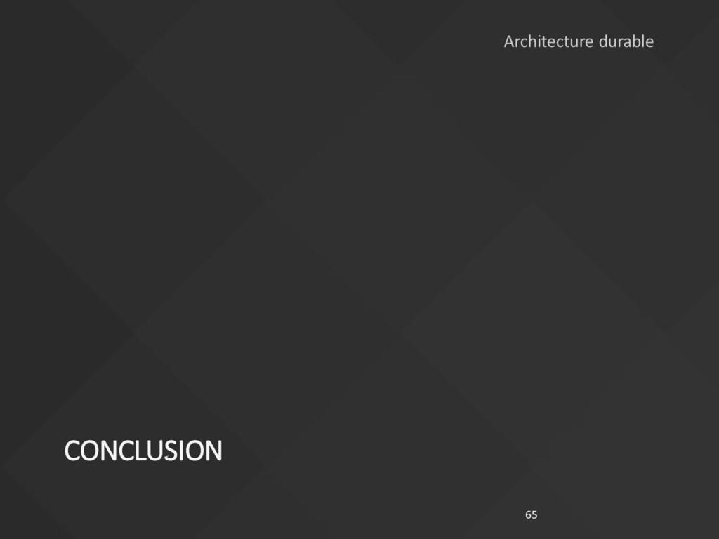 CONCLUSION 65 Architecture durable