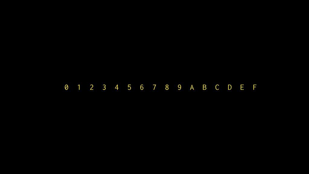 0 1 2 3 4 5 6 7 8 9 A B C D E F
