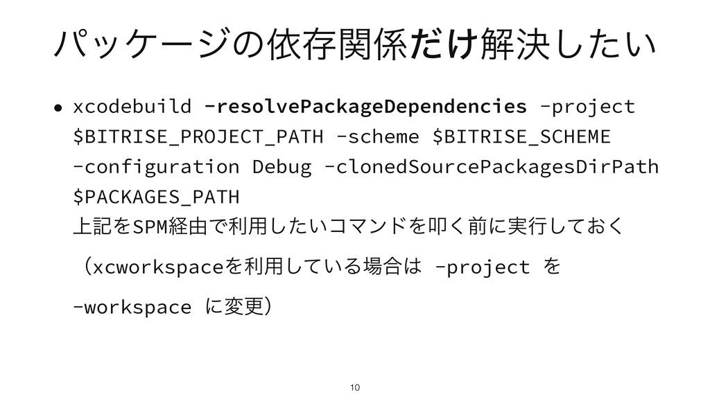 ύοέʔδͷґଘ͚ؔͩղܾ͍ͨ͠ • xcodebuild -resolvePackageD...
