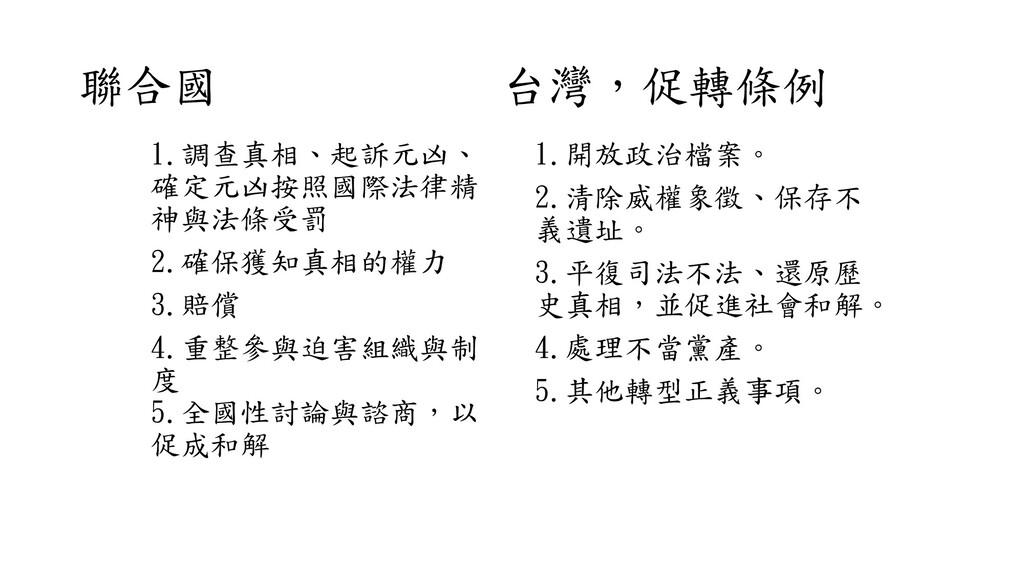 聯合國 台灣,促轉條例 1.調查真相、起訴元凶、 確定元凶按照國際法律精 神與法條受罰 2.確...