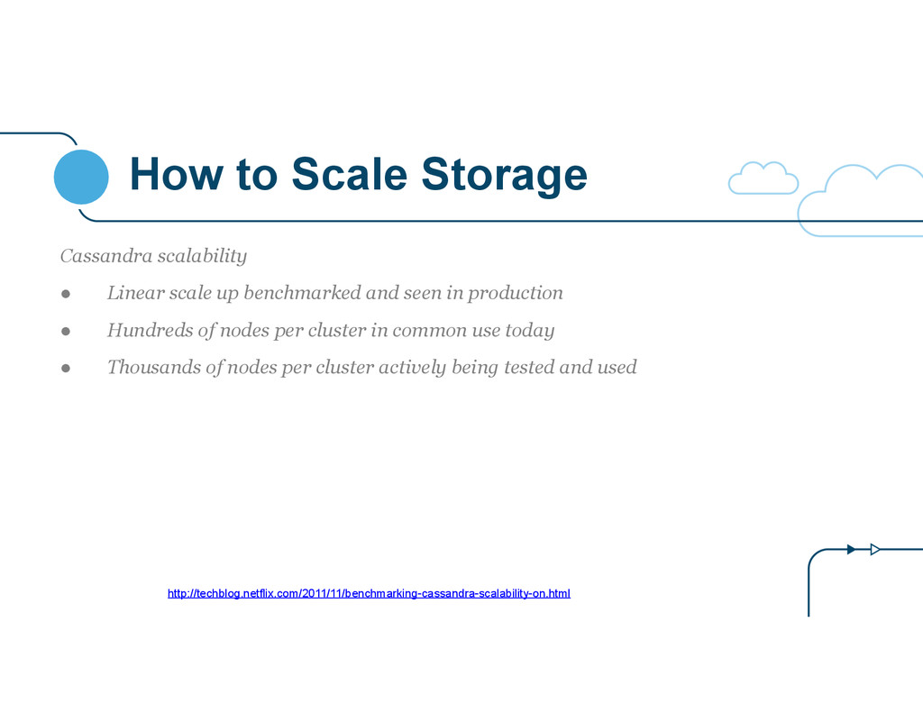 How to Scale Storage Cassandra scalability ● Li...