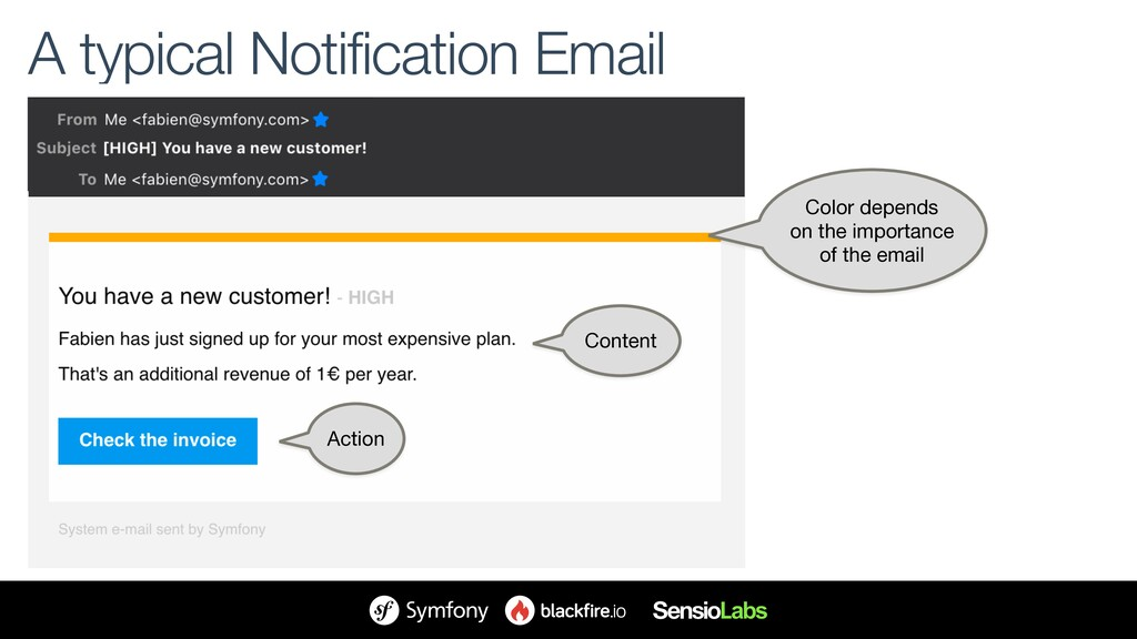 A typical Notification Email Color depends on ...