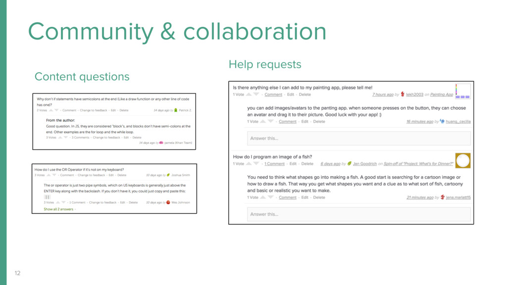 12 Community & collaboration Content questions ...
