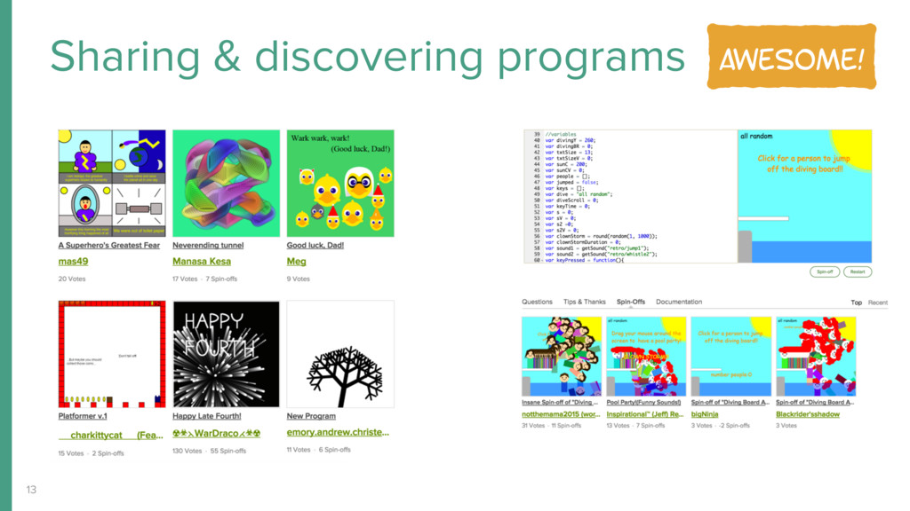 Sharing & discovering programs 13 Awesome!