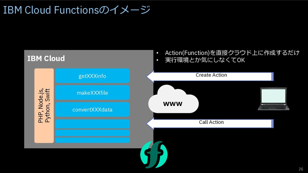 26 IBM Cloud www getXXXinfo Create Action • Act...