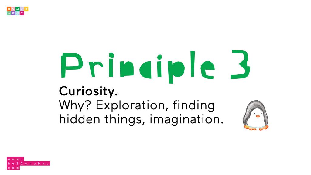 Principle 3 Curiosity. Why? Exploration, findin...