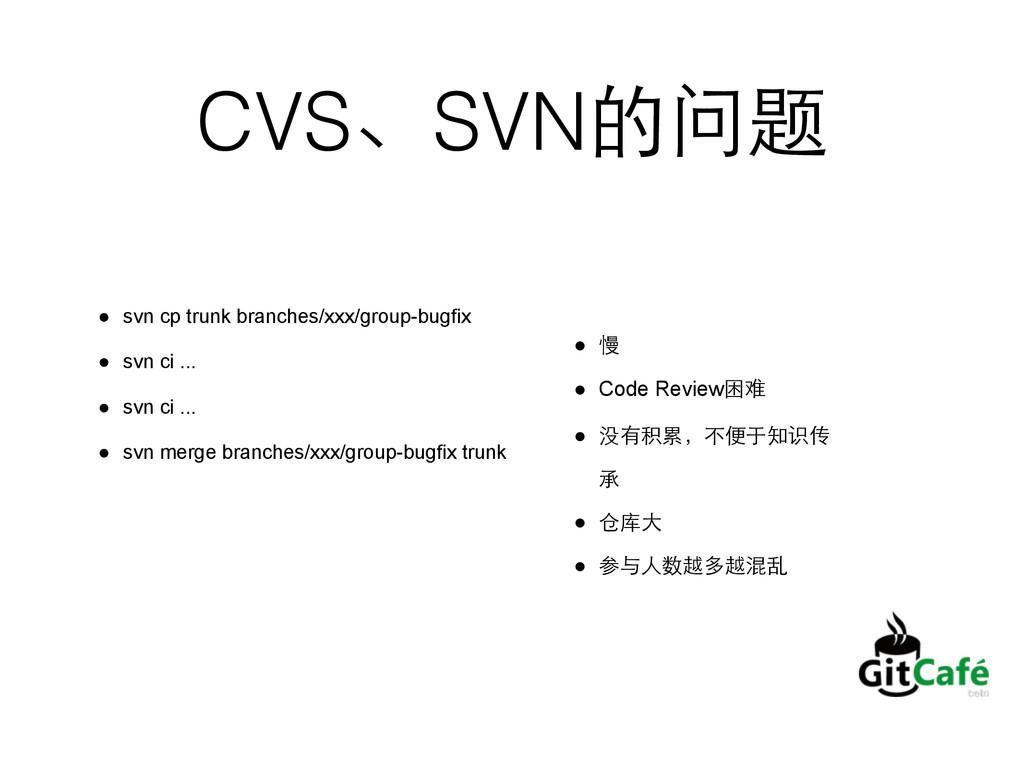 CVS、SVN的问题 ● svn cp trunk branches/xxx/group-bu...