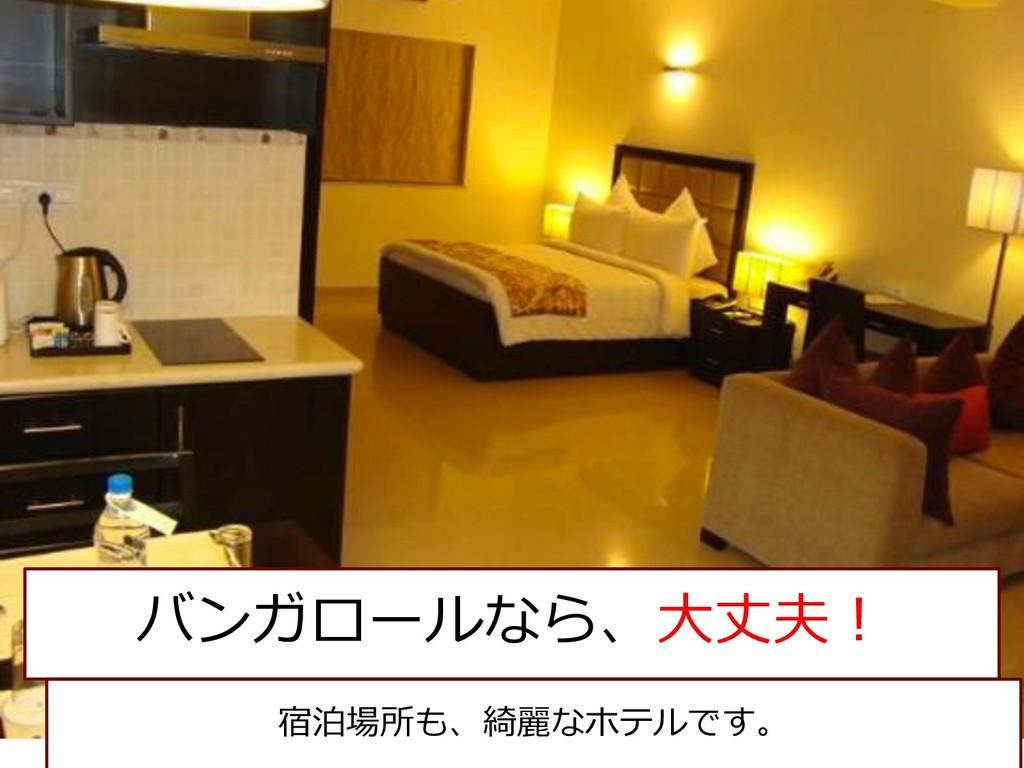 バンガロールなら、⼤丈夫︕ 宿泊場所も、綺麗なホテルです。