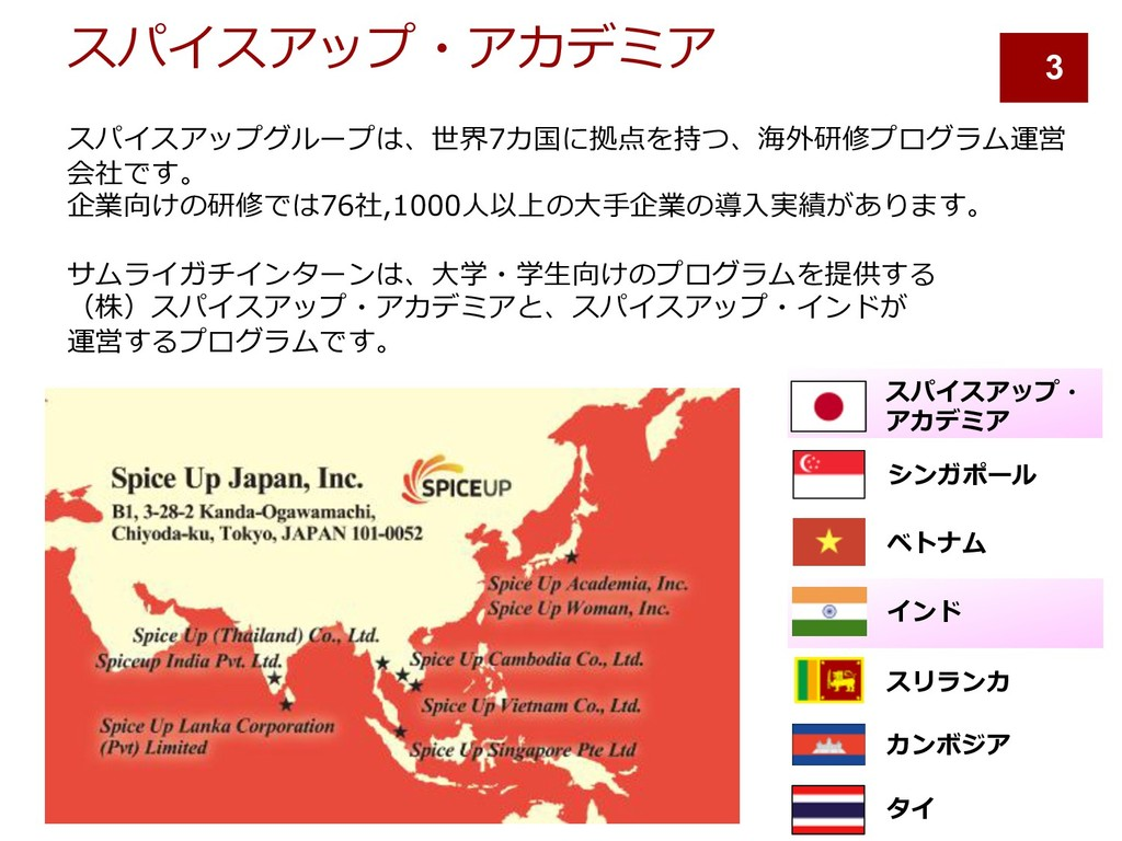 スパイスアップ・アカデミア スパイスアップグループは、世界7カ国に拠点を持つ、海外研修プログラ...