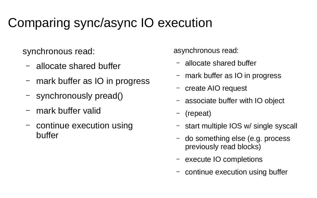 Comparing sync/async IO execution synchronous r...