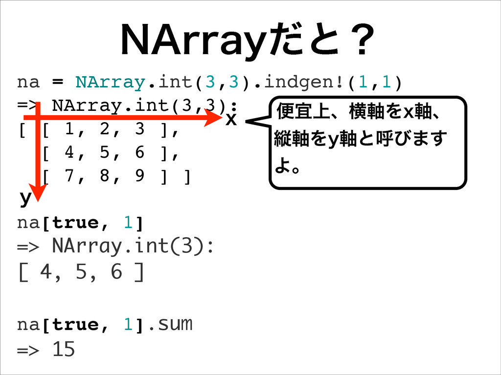 "/""SSBZͩͱʁ na = NArray.int(3,3).indgen!(1,1) => ..."
