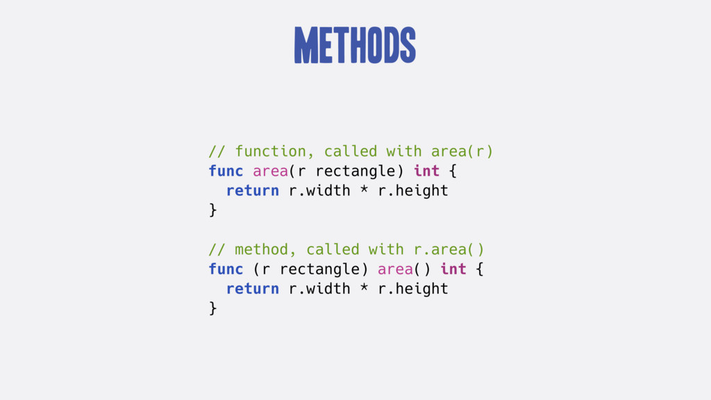 Methods // function, called with area(r) func a...