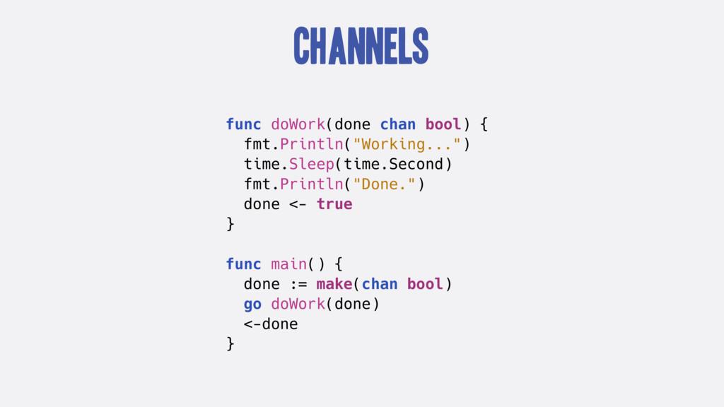 Channels func doWork(done chan bool) { fmt.Prin...
