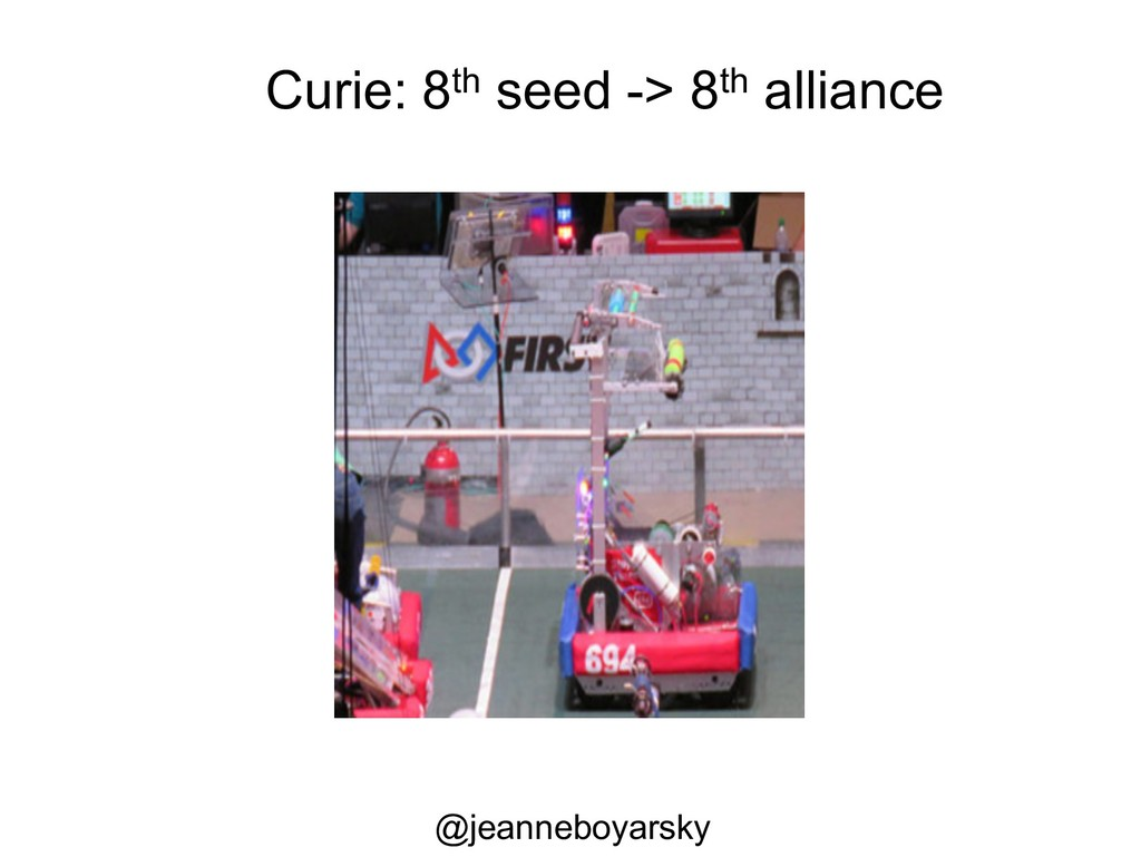 Curie: 8th seed -> 8th alliance @jeanneboyarsky