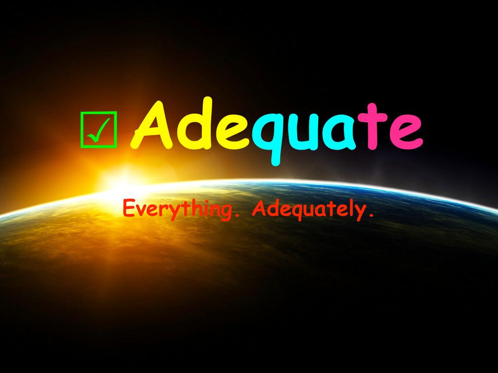 ☑Adequate Everything. Adequately.
