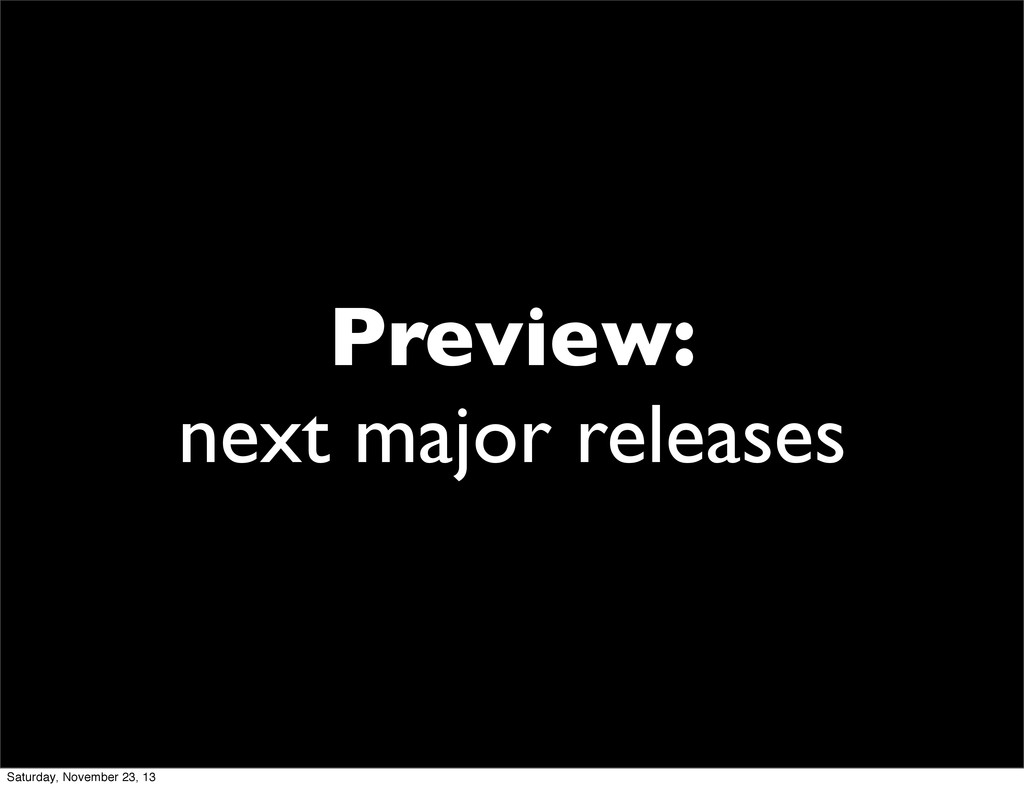 Preview: next major releases Saturday, November...