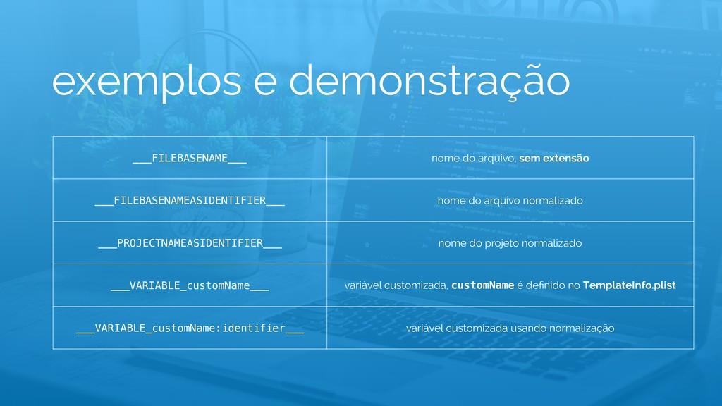 exemplos e demonstração ___FILEBASENAME___ nome...