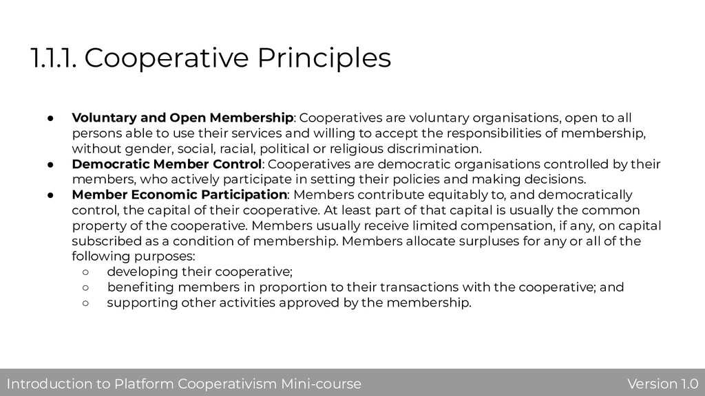 1.1.1. Cooperative Principles ● Voluntary and O...