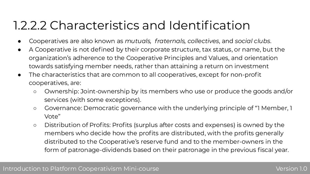 1.2.2.2 Characteristics and Identification ● Coo...