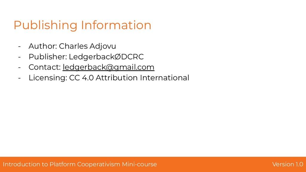 Publishing Information - Author: Charles Adjovu...