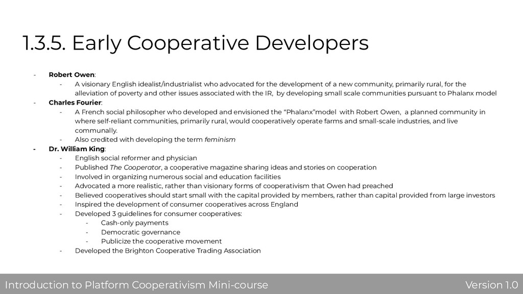 1.3.5. Early Cooperative Developers - Robert Ow...