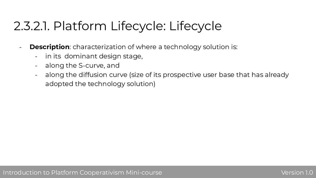 2.3.2.1. Platform Lifecycle: Lifecycle - Descri...