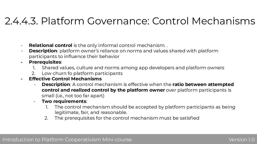 2.4.4.3. Platform Governance: Control Mechanism...