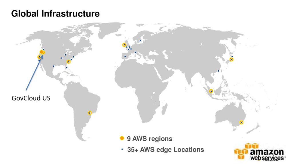 9 AWS regions 35+ AWS edge Locations GovCloud U...