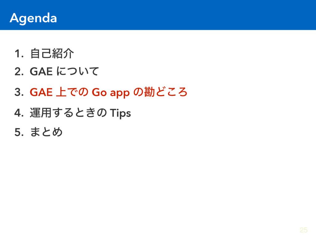 Agenda 1. ࣗݾհ 2. GAE ʹ͍ͭͯ 3. GAE ্Ͱͷ Go app ͷצ...