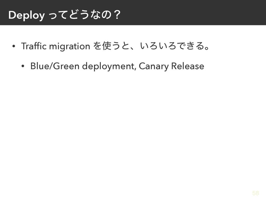 Deploy ͬͯͲ͏ͳͷʁ • Traffic migration Λ͏ͱɺ͍Ζ͍ΖͰ͖Δɻ...