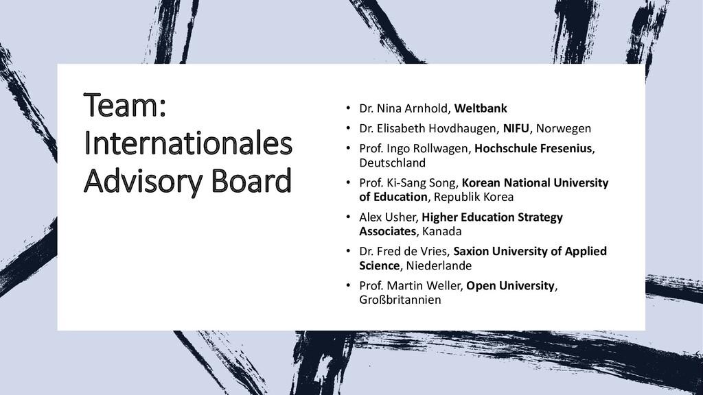 Team: Internationales Advisory Board • Dr. Nina...
