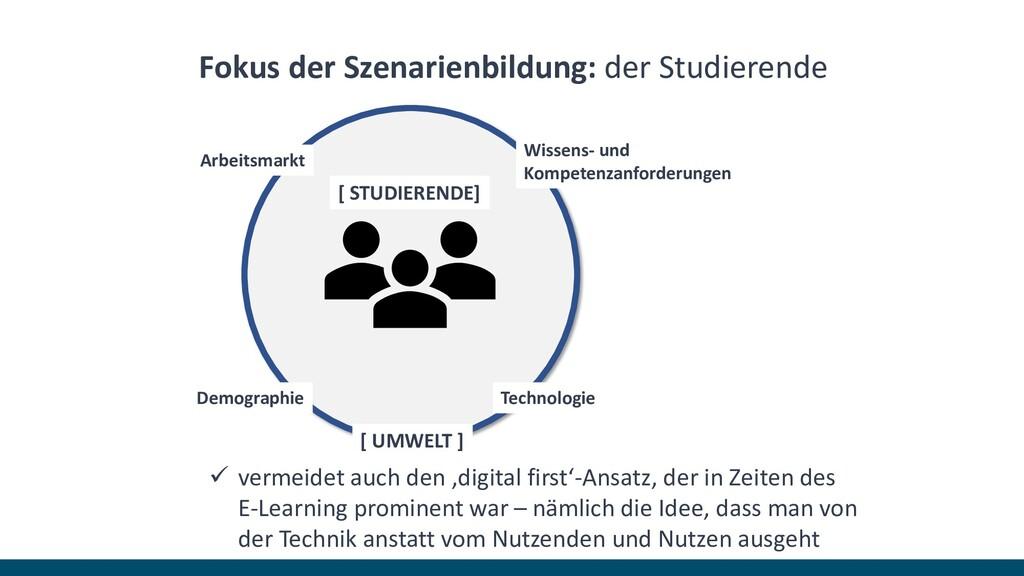 Fokus der Szenarienbildung: der Studierende ✓ v...