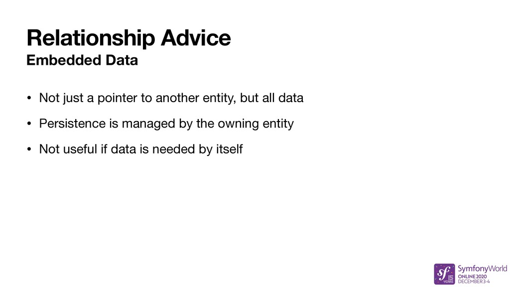 Relationship Advice Embedded Data • Not just a ...