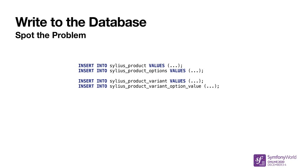 Write to the Database Spot the Problem INSERT I...