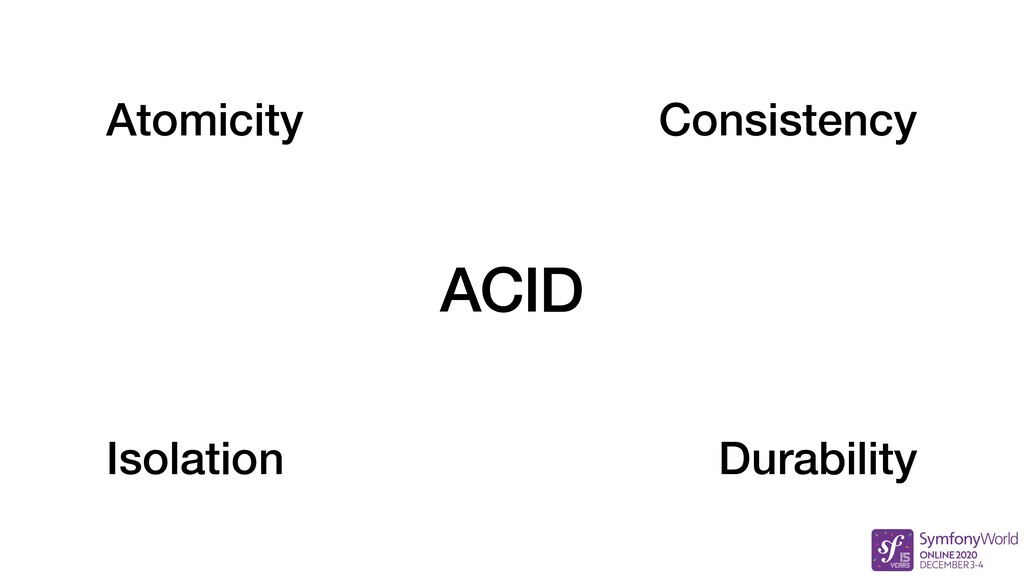ACID Atomicity Consistency Isolation Durability