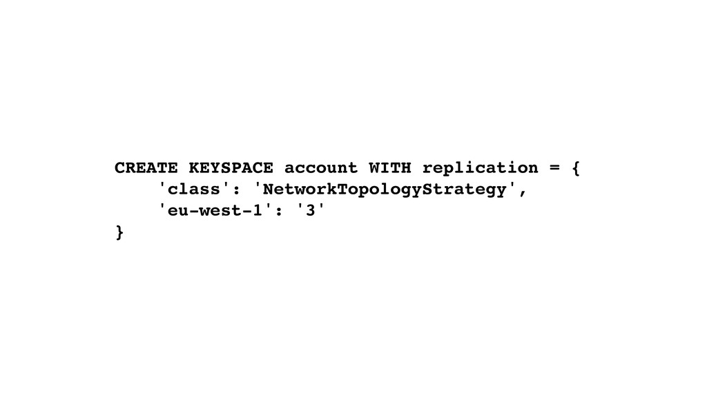 CREATE KEYSPACE account WITH replication = { 'c...