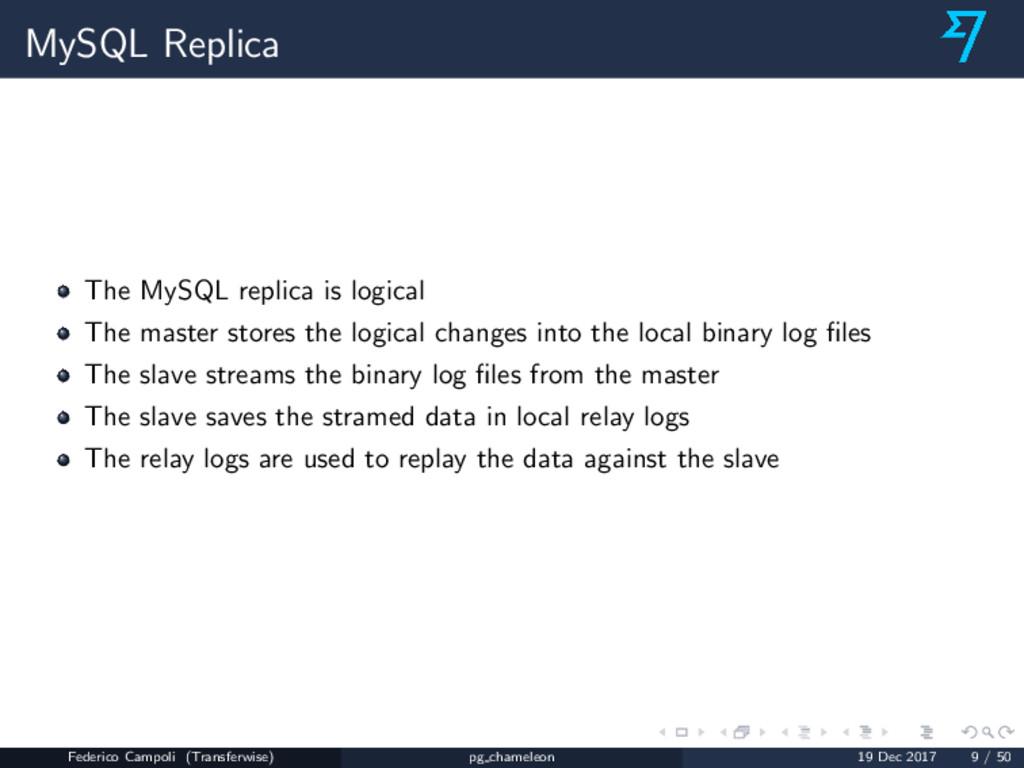 MySQL Replica The MySQL replica is logical The ...