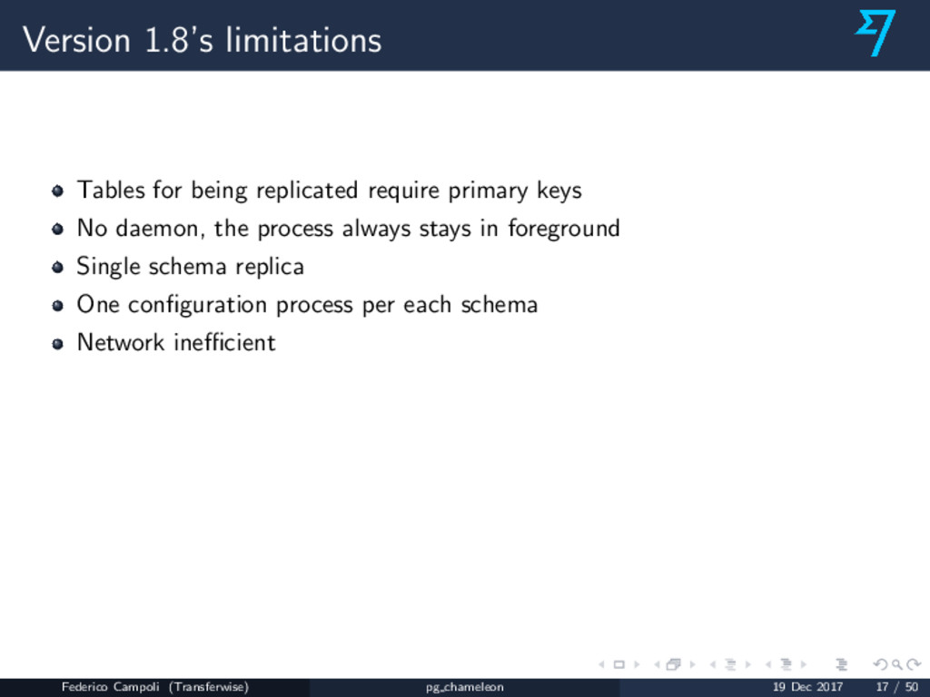 Version 1.8's limitations Tables for being repl...