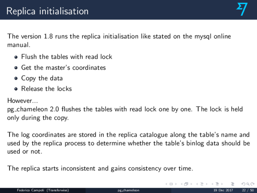 Replica initialisation The version 1.8 runs the...