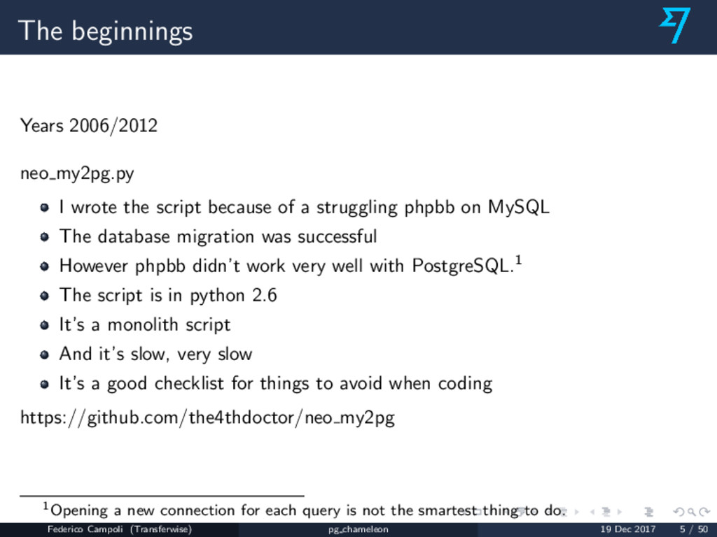 The beginnings Years 2006/2012 neo my2pg.py I w...