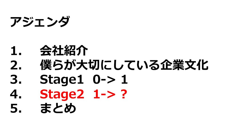 アジェンダ 1. 会社紹介 2. 僕らが⼤切にしている企業⽂化 3. Stage1 0-> 1...