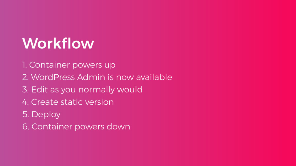 Workflow 1. Container powers up 2. WordPress Adm...