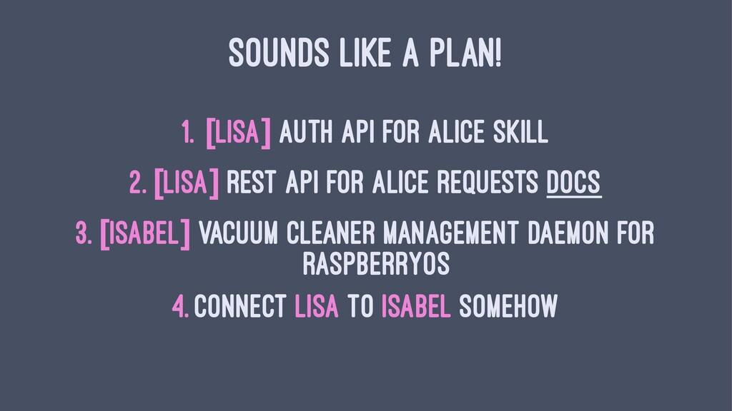 SOUNDS LIKE A PLAN! 1. [lisa] Auth API for Alic...