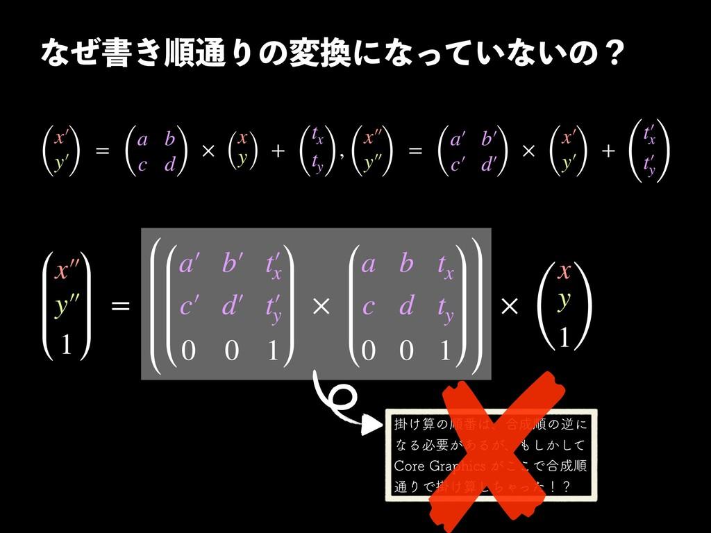 ͳͥॻ͖ॱ௨Γͷมʹͳ͍ͬͯͳ͍ͷʁ  ( x′ y′ ) = ( a b c d) × ...