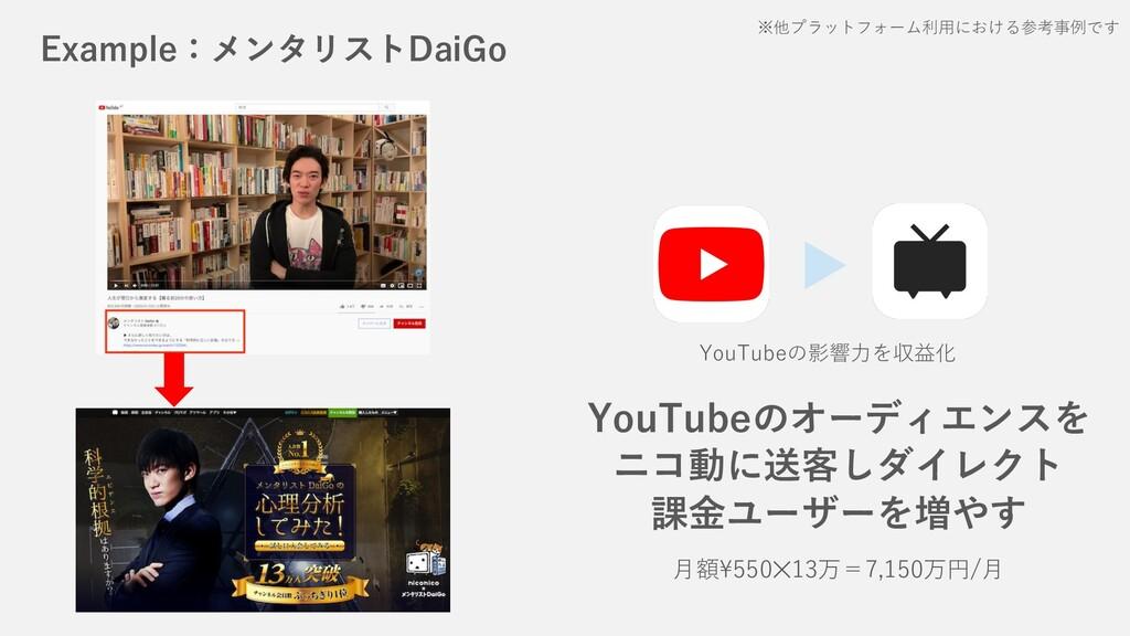 Example:メンタリストDaiGo ⽉額\550✕13万=7,150万円/⽉ YouTub...