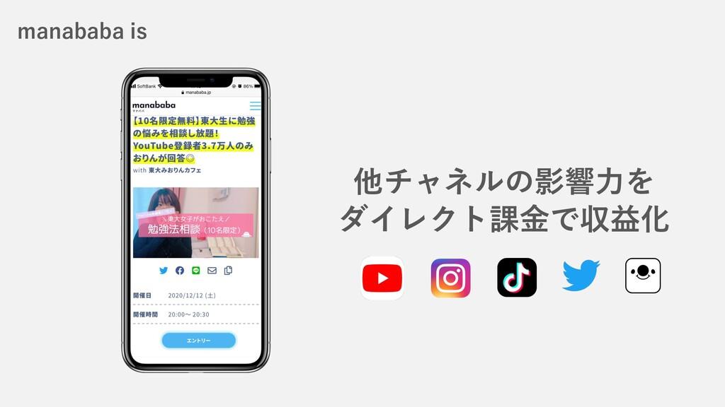 他チャネルの影響⼒を ダイレクト課⾦で収益化 manababa is